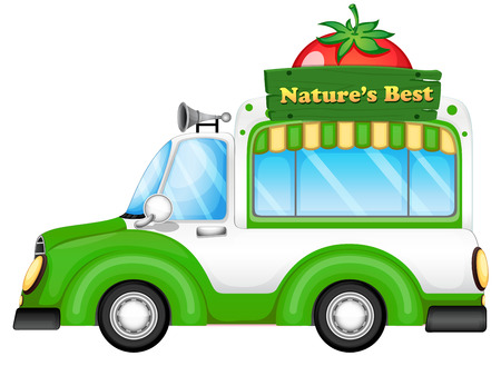 labelling: Illustration of a vehicle with a natures best signboard on a white background