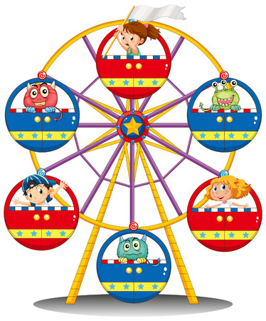 carnival ride: Illustration of a carnival ride with monsters and kids on a white background Illustration