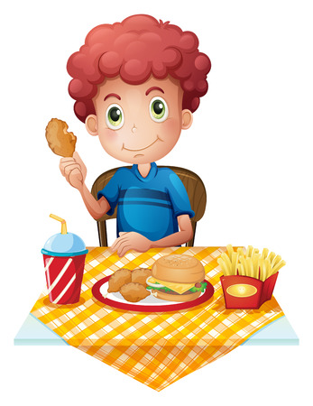 Illustration of a hungry boy eating on a white background