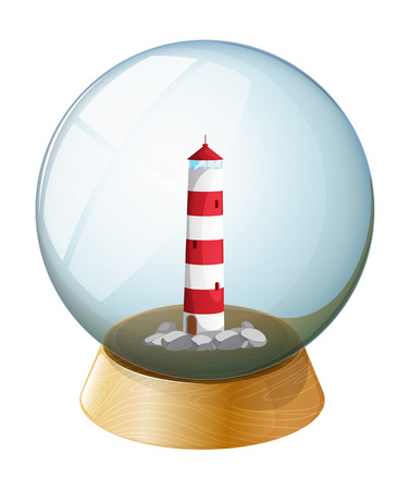 parola: Illustration of a crystal ball with a tower inside on a white background Illustration