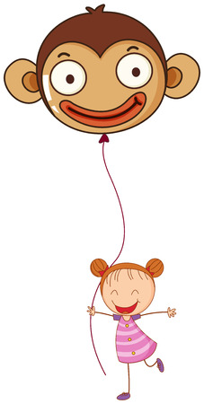 tied girl: Illustration of a young girl holding a monkey balloon on a white background