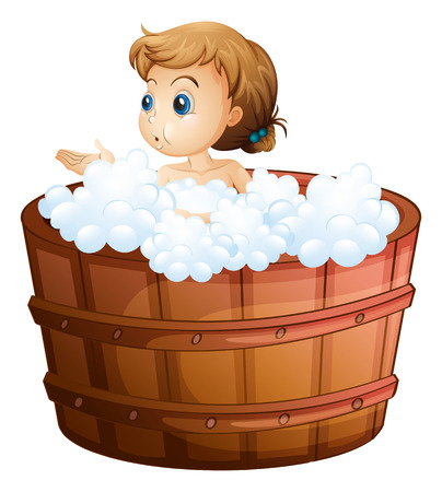 personal grooming: Illustration of a young girl taking a bath on a white background Illustration