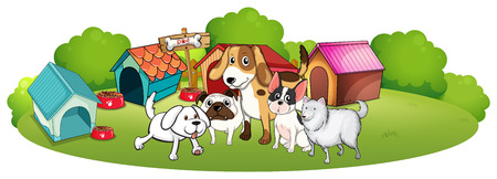 Illustration of a group of dogs gathering in front of their house on a white background Vector