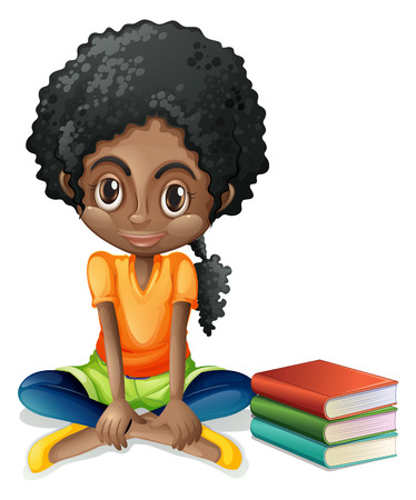 complexion: Illustration of a young Black girl sitting beside her books on a white background
