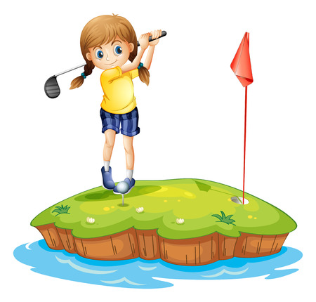 Illustration of an island with a young girl playing golf on a white background Vector