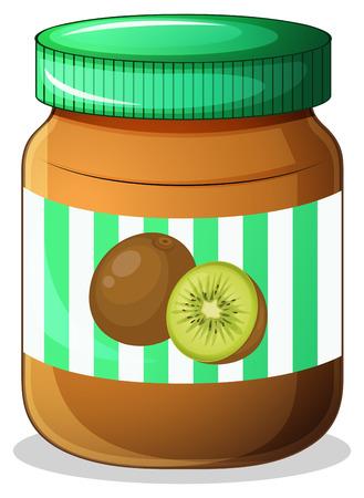 sandwich spread: Illustration of a bottle of kiwi jam on a white background