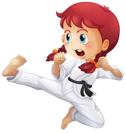 patada: Ilustración de una niña enérgica haciendo karate en un fondo blanco
