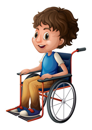 Illustration of a young boy riding on a wheelchair on a white background Illustration