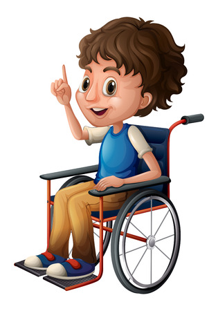 Illustration of a wheelchair with a boy on a white background