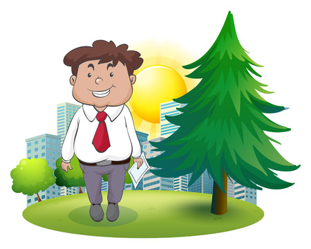 establishments: Illustration of a fat businessman standing beside the pine tree on a white background Illustration
