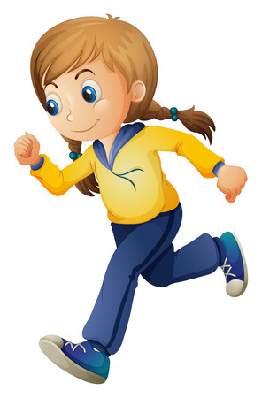running pants: Illustration of a cute girl jogging on a white background