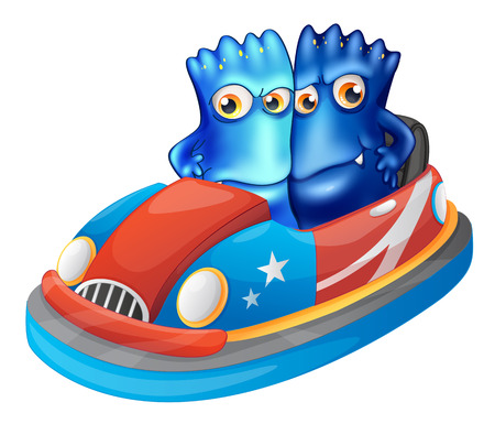 Illustration of the two blue monsters riding a car on a white background Vector