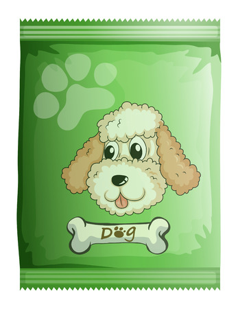 Illustration of a pack of dog food on a white background Vector