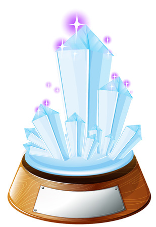 Illustration of an ice-designed trophy with an empty label on a white background Vector