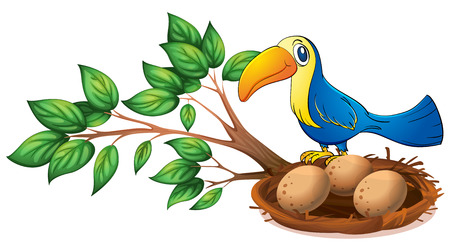 Illustration of a blue bird above the branch of a tree on a white background Vector