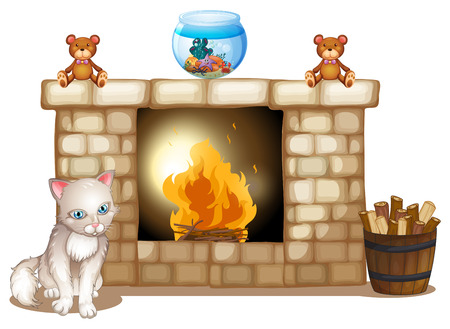 Illustration of a sad cat near the fireplace on a white background Vector