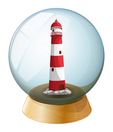 Illustration of a lighthouse inside the crystal ball on a white background Vector