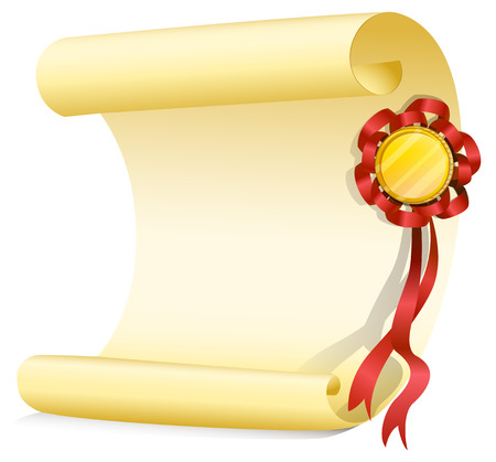 nametag: Illustration of an empty sheet of paper with a ribbon on a white background