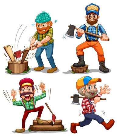 hardworking: Illustration of the hardworking woodmen on a white background