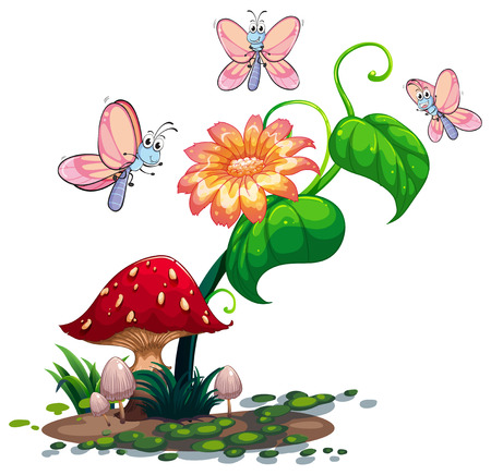 Illustration of a blooming flower surrounded with three butterflies on a white background Vector