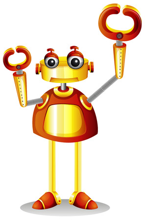 computerized: Illustration of a robot on a white background Illustration