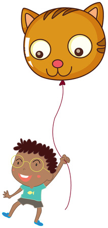 Illustration of a boy holding a cat balloon on a white background Vector