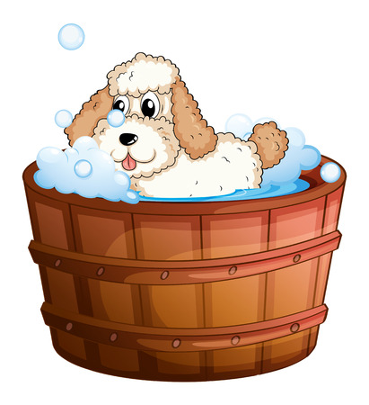 grooming: Illustration of a brown bathtub with a dog taking a bath on a white background Illustration