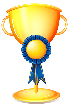 awarding: Illustration of a cup trophy with a blue ribbon on a white background