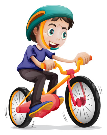 Illustration of a young boy riding a bicycle on a white background Illustration