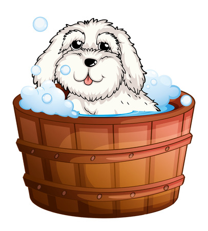 grooming: Illustration of a puppy taking a bath on a white background