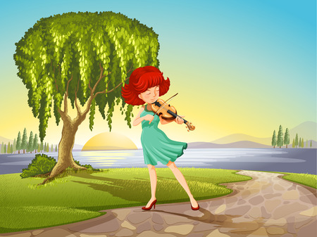 Illustration of a talented girl with a violin Vector