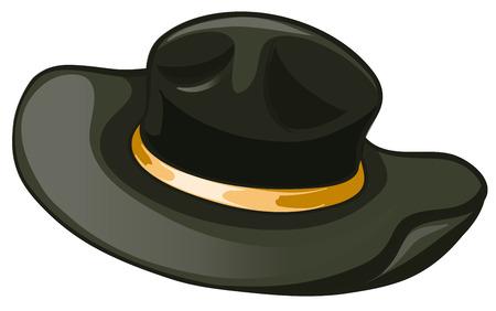 black hat: Ilustraci�n de un sombrero negro con un cintur�n de color amarillo sobre un fondo blanco