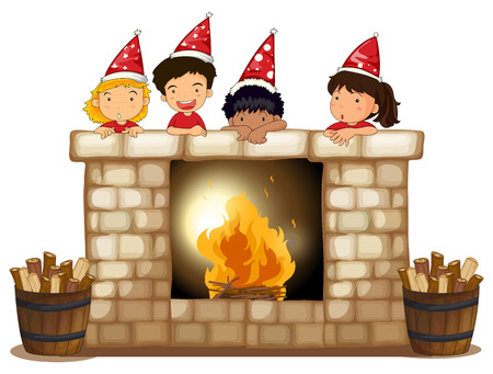 wood log: Illustration of the playful kids at the fireplace on a white background Illustration