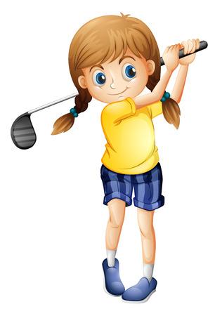 teen golf: Ilustración de una chica deportiva jugando al golf en un fondo blanco