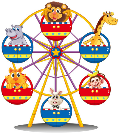 Illustration of a carnival ride with animals on a white background