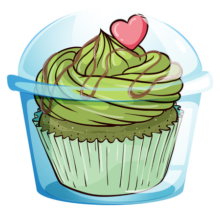 flavorful: Illustration of a cupcake with a green icing and a pink heart on a white background Illustration