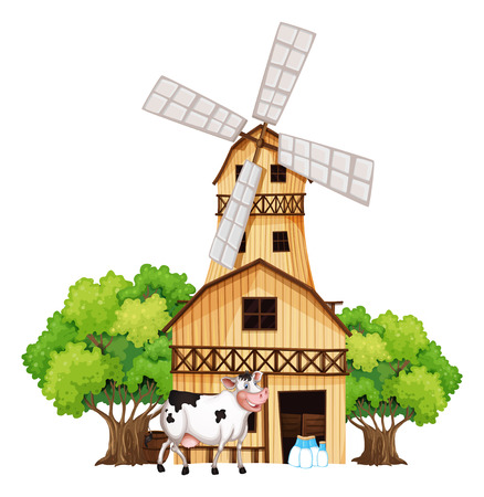 barnhouse: Illustration of a milking cow outside the barnhouse on a white background