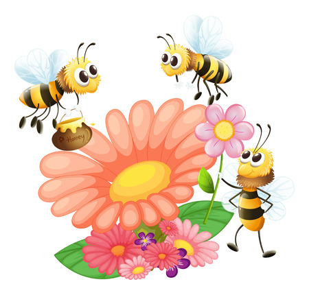 Illustration of the blooming flowers with bees on a white background Vector