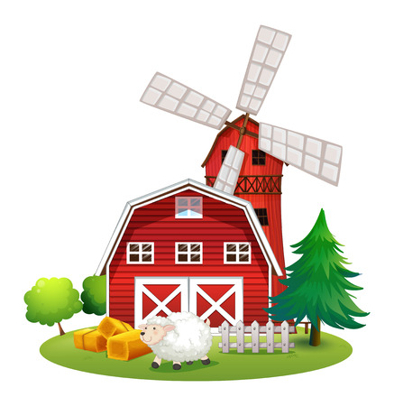 Illustration of a sheep outside the red barnhouse on a white background Vector