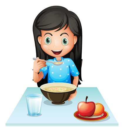 Illustration of a smiling young lady eating breakfast on a white background Vector