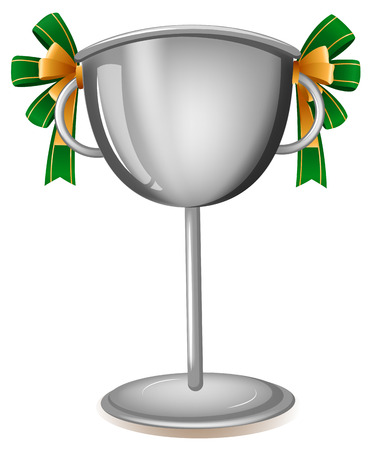awarding: Illustration of a gray cup with ribbons on a white background
