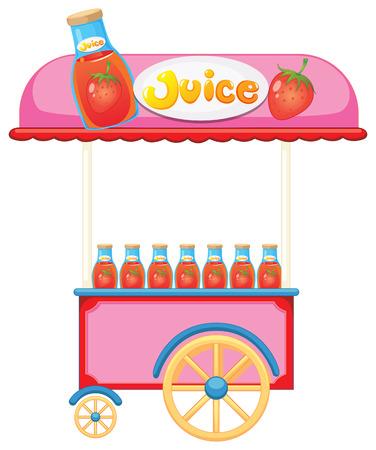 carretilla de mano: Ilustración de un carro de jugo de fresa sobre un fondo blanco