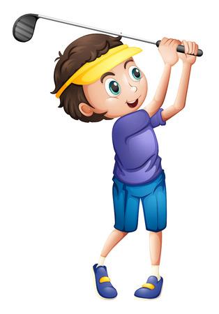 Ilustración de un niño jugando al golf en un fondo blanco