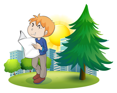 Illustration of a man reading newspaper near the pine tree on a white background Vector