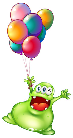 occassion: Illustration of a monster with metallic balloons on a white background Illustration