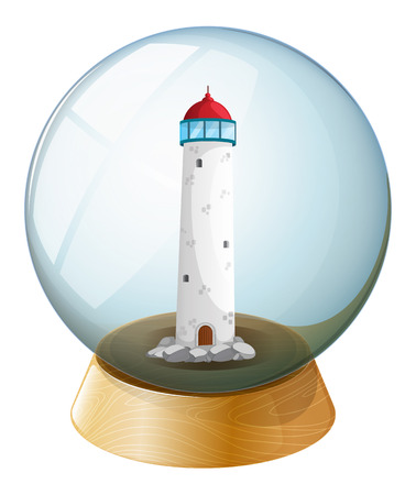 Illustration of a crystal ball with a tower inside on a white background Vector