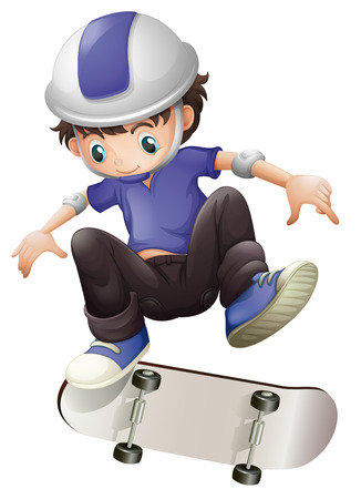 Illustration of a young boy skating on a white background Vector