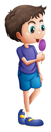 lick: Illustration of a young boy eating lollipop on a white background Illustration