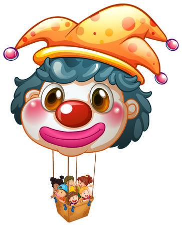Illustration of a big clown balloon with kids in the big basket on a white background Vector