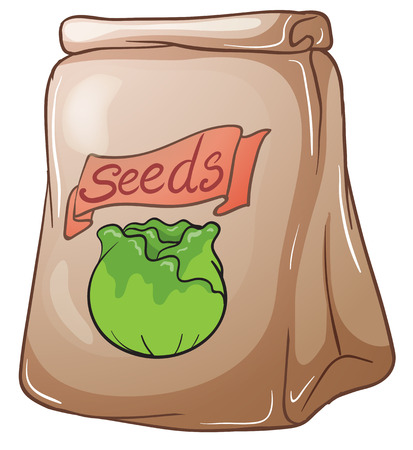 Illustration of a paper pouch with seeds on a white background Stock Vector - 28543684